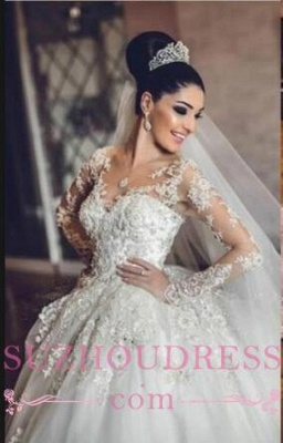 Luxurious Long Sleeves Ball Gown Wedding Dresses Lace Appliques Tulle Wedding Gowns 2020 BA3182_2