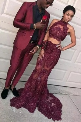 Burgundy Two Pieces Tulle Appliques Prom Dresses 2020 Mermaid Sleeveless Evening Dresses BA8109_1