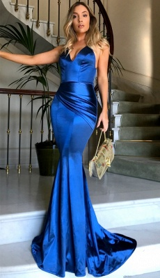 Royal Blue V-neck Open Back Sexy Formal Evening Dresses Silk Like Satin Evening Gown PT0386 FB0103_3