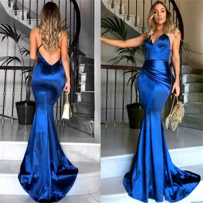Royal Blue V-neck Open Back Sexy Formal Evening Dresses Silk Like Satin Evening Gown PT0386 FB0103_6