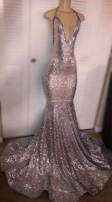 Deep V-neck Sexy Sequins Prom Dresses 2020   Backless Mermaid Cheap Evening Gowns_1