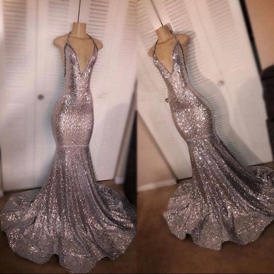 Deep V-neck Sexy Sequins Prom Dresses 2020   Backless Mermaid Cheap Evening Gowns_2