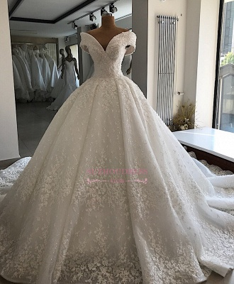 Appliques Off-the-shoulder Elegant Ball-Gown Wedding Dresses_4