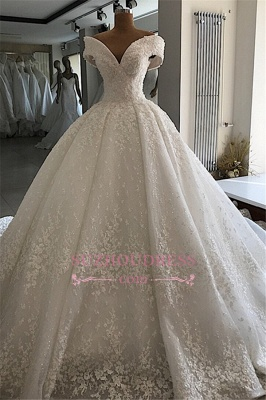 Appliques Off-the-shoulder Elegant Ball-Gown Wedding Dresses_1