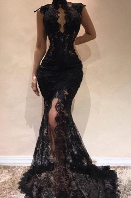 Black High Neck Lace Sexy Prom Dresses 2020 | Sleeveless Front Split Evening Dresses_1