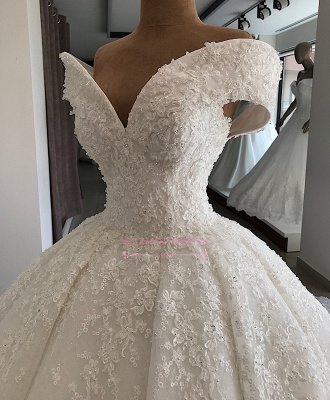 Appliques Off-the-shoulder Elegant Ball-Gown Wedding Dresses_2