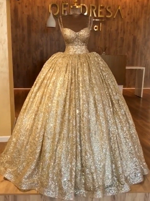 Spaghetti Straps Ball Gown Evening Dress Cheap | Gold Sparkle Sequins Luxury Formal Dress 2020 BC0826_1