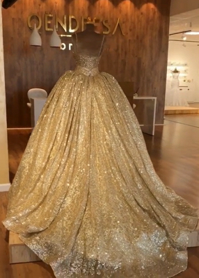 Spaghetti Straps Ball Gown Evening Dress Cheap | Gold Sparkle Sequins Luxury Formal Dress 2020 BC0826_3