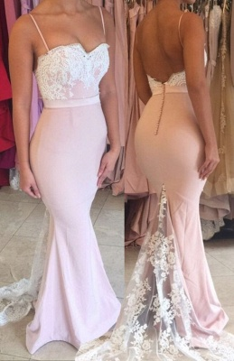 Spaghetti Straps Lace Mermaid Evening Dress Open Back Buttons Cheap Formal Dress FB0034_4