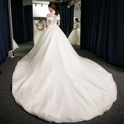 Puffy Lace-Applique Wedding Dresses 2020   Scoop Cap-Sleeves Exquisite Gowns_2