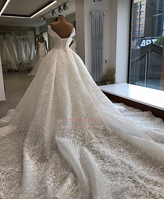 Appliques Off-the-shoulder Elegant Ball-Gown Wedding Dresses_3