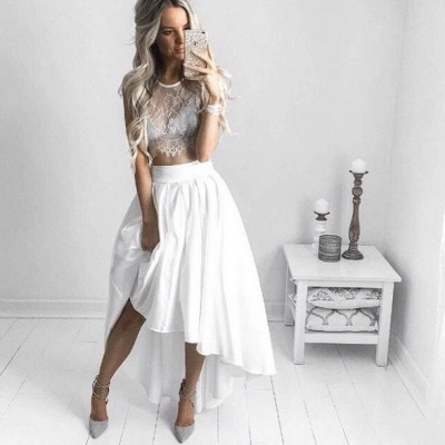 Two Piece White Hi-Lo Formal Dress 2020 Lace Capped Sleeves Sexy Prom Dresses BA6137_2