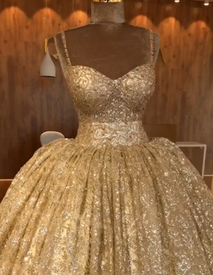 Spaghetti Straps Ball Gown Evening Dress Cheap | Gold Sparkle Sequins Luxury Formal Dress 2020 BC0826_4