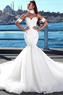 Sexy Mermaid Sweetheart Wedding Dresses | 2020 Lace Open Back Bridal Gowns_1