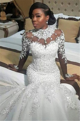 Elegant High Neck Lace Appliques  Wedding Dresses | Long Sleeves Crystal Sexy Mermaid Bridal Gowns_2