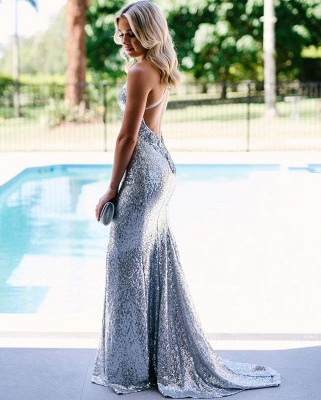 Sexy Open Back Silver Sequins Evening Dress Cheap 2020 | Mermaid Spaghetti Straps Fomral Dressn bc1638_3