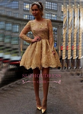 Gold Lace Appliques Long Sleeves Party Gowns Cheap Short 2020 Homecoming Dresses BA7971_3