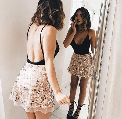 Sexy Backless V-neck Mini Homecoming Dress 2020 Champagne Sequins Cheap Short Party Dress_3