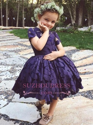 Newest Lace Jewel Short Sleeve Knee Length Cheap Lovely Flower Girl Dress_2