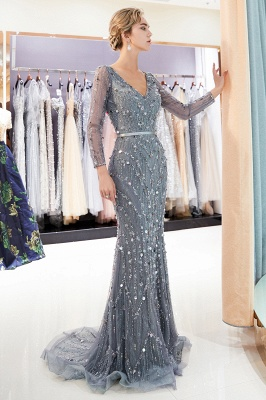 Gray V-Neck Mermaid Evening Dresses with Long Sleeves | Sexy Mermaid Prom Dresses 2020_4