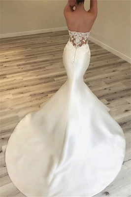Elegant Sweetheart Mermaid Satin Bridal Gowns | Sexy Lace Open Back Wedding Dresses 2020 BC0628_3