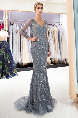 Gray V-Neck Mermaid Evening Dresses with Long Sleeves | Sexy Mermaid Prom Dresses 2020_5