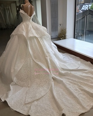 Beautiful Off-the-shoulder Ball-Gown Lace Wedding Dresses_2