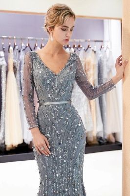 Gray V-Neck Mermaid Evening Dresses with Long Sleeves | Sexy Mermaid Prom Dresses 2020_6