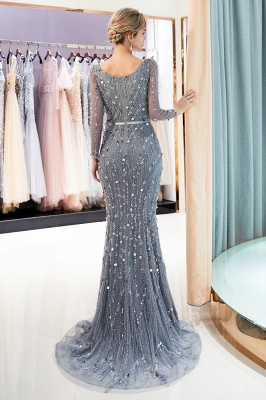 Gray V-Neck Mermaid Evening Dresses with Long Sleeves | Sexy Mermaid Prom Dresses 2020_3