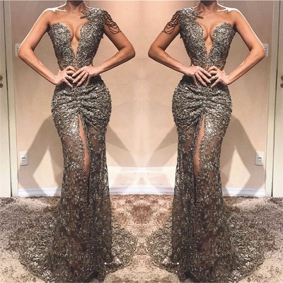 Sexy One Shoulder Front Slit Cheap Prom Dresses | See Through Beads Appliques 2020 Evening Gowns_3