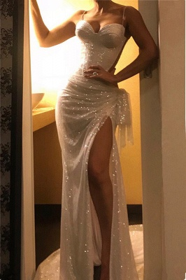 Shiny Sequins Sexy Evening Gowns with Slit | Spaghetti Straps Ruffles Sleeveless Sheer Back Prom Dresses_2