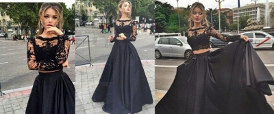 Black Lace Two Piece 2020 Prom Dresses Long Sleeve Evening Gown CE049_2