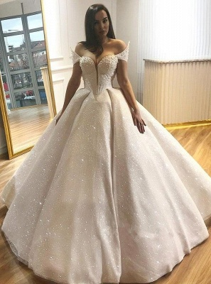 Glamorous Off-the-Shoulder Beading Wedding Dresses | 2020 Sequins Ball Gown Bridal Gowns_1