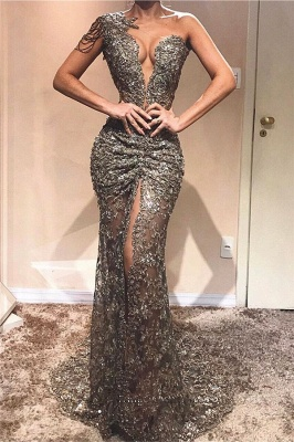 Sexy One Shoulder Front Slit Cheap Prom Dresses | See Through Beads Appliques 2020 Evening Gowns_1