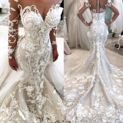 Glamorous Long Sleeves Mermaid Wedding Dresses 2020 | Sexy Flowers Mermaid Bridal Gowns with Detachable Train_3
