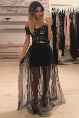 Off The Shoulder Two Piece Lace Formal Dress Cheap 2020 Sheer Tulle Cheap Ball Dress_1