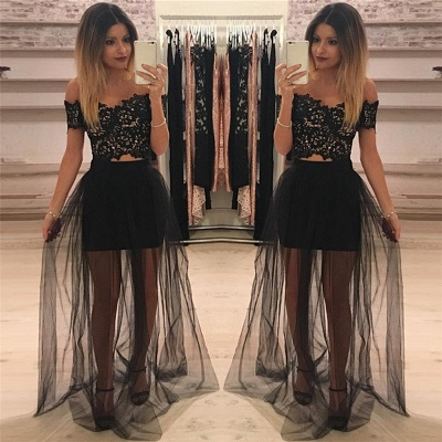 Off The Shoulder Two Piece Lace Formal Dress Cheap 2020 Sheer Tulle Cheap Ball Dress_3