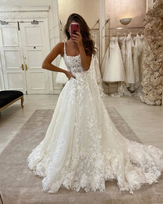 Glamorous Lace Appliques Spaghetti Straps Wedding Dresses | Sweep Train A-line Bridal Gowns_2