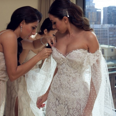 Gorgeous Sweetheart Lace Mermaid Wedding Dresses Front Split Bridal Dresses with Tulle Wrap_4