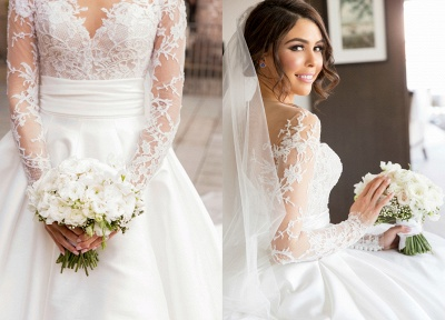 2020 New Full Lace Split Wedding Dresses Illusion Back Bridal Gowns with Detachable Satin Skirt_4