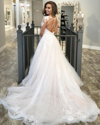 A-line Lace Appliques Wedding Dresses | Sheer Tulle Sweep Train Bridal Gowns_2
