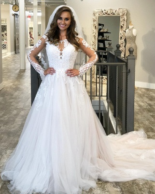 A-line Lace Appliques Wedding Dresses | Sheer Tulle Sweep Train Bridal Gowns_3