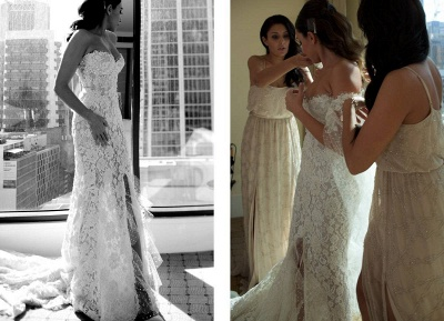 Gorgeous Sweetheart Lace Mermaid Wedding Dresses Front Split Bridal Dresses with Tulle Wrap_6