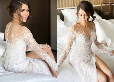 2020 New Full Lace Split Wedding Dresses Illusion Back Bridal Gowns with Detachable Satin Skirt_3
