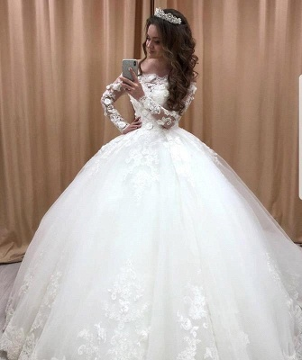 Glamorous Off Shoulder Long Sleeves Wedding Dresses | Lace Flowers Bridal Ball Gown 2020_1