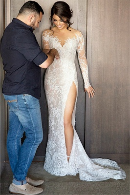 2020 New Full Lace Split Wedding Dresses Illusion Back Bridal Gowns with Detachable Satin Skirt_7