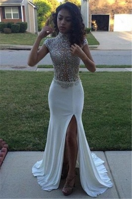 High Neck Beading Sequins Prom Dresses 2020 Cap Sleeves Front Split Evening Gowns BA5088_3