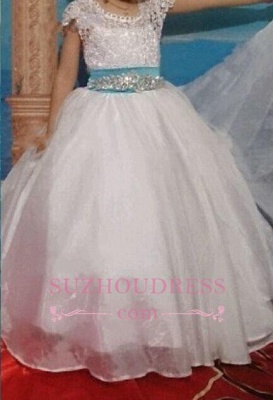 Blue Sash Short Sleeves Crystals Girls Pageant Dress Puffy Tulle Flower Girl Dresses BA3744_2