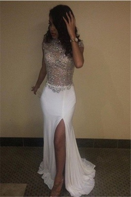 High Neck Beading Sequins Prom Dresses 2020 Cap Sleeves Front Split Evening Gowns BA5088_1