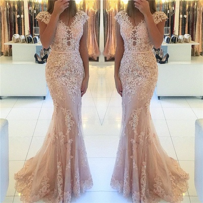 Cap Sleeves Lace Tulle Pink Evening Dress | Mermaid 2020 Cheap Party Dresses_3